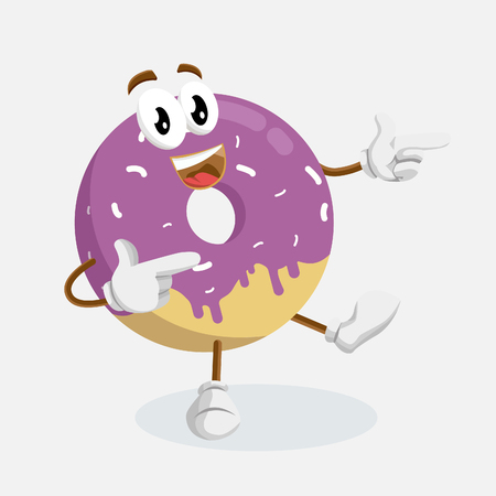 Donuts mascot and background. Hi pose with flat design style for your mascot branding. Illustration