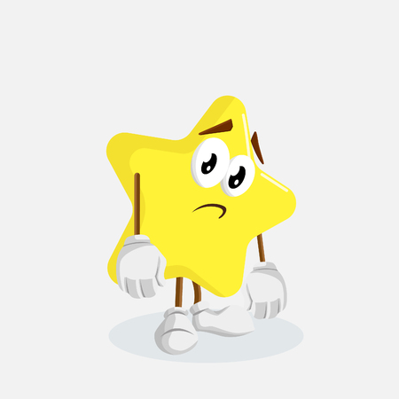 Star mascot and background sad pose with flat design style for your mascot branding.