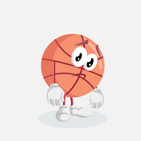 Basketball mascot and background sad pose with flat design style for your mascot branding.