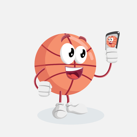 Basketball mascot and background with selfie pose with flat design style for your mascot branding. Illustration