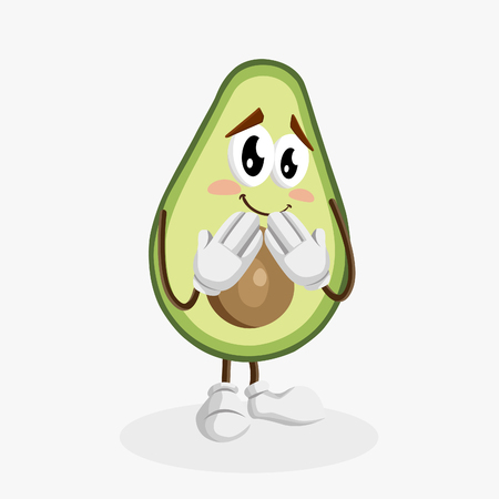 Avocado Logo mascot ashamed pose with flat design style for your logo or mascot branding