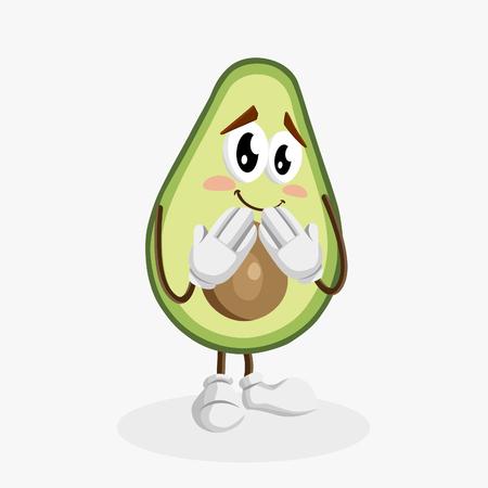Avocado Logo mascot ashamed pose with flat design style for your logo or mascot branding