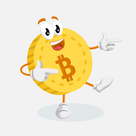 Bitcoin mascot and background Hi pose with flat design style for your mascot branding. Illustration