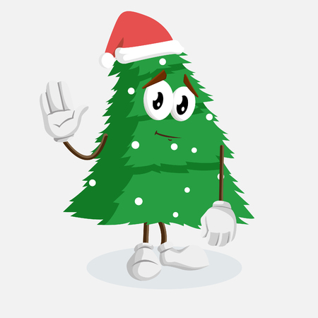 Christmas Tree mascot and backgorund goodbye pose with flat design style for your logo or mascot branding Ilustrace