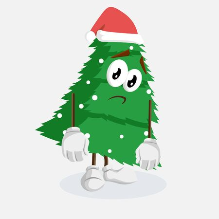 Christmas Tree mascot and backgorund sad pose with flat design style for your logo or mascot branding