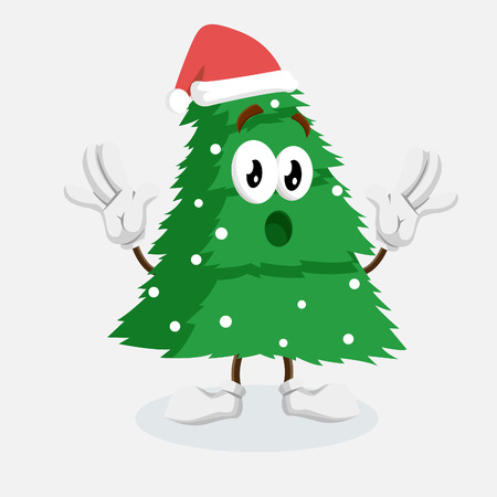 Christmas Tree mascot and backgorund surprise pose with flat design style for your logo or mascot branding