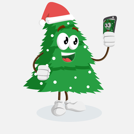 Christmas Tree mascot and backgorund with selfie pose with flat design style for your logo or mascot branding