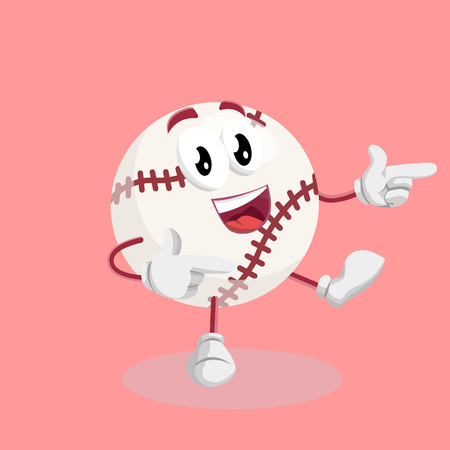 Baseball mascot and background Hi pose with flat design style for your mascot branding.