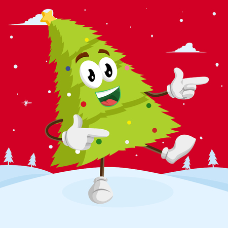 Christmas Tree mascot and background Hi goodbye pose with flat design style for your logo or mascot branding Ilustrace