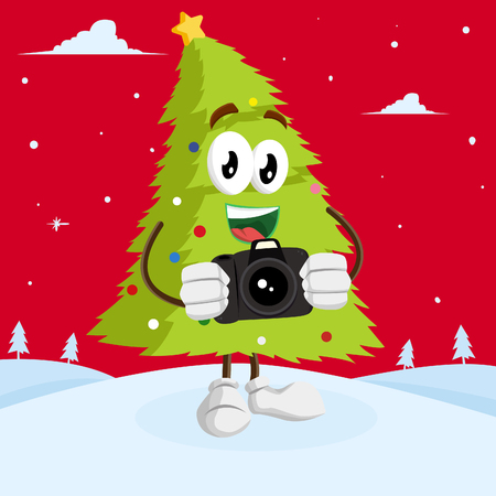 Christmas Tree mascot and background with camera pose with flat design style for your logo or mascot branding Ilustrace