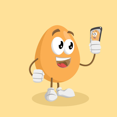 Egg mascot and background with selfie pose with flat design style for your mascot branding. Illustration