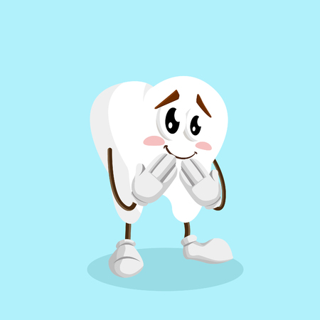Tooth mascot and background ashamed pose with flat design style for your mascot branding. Illusztráció