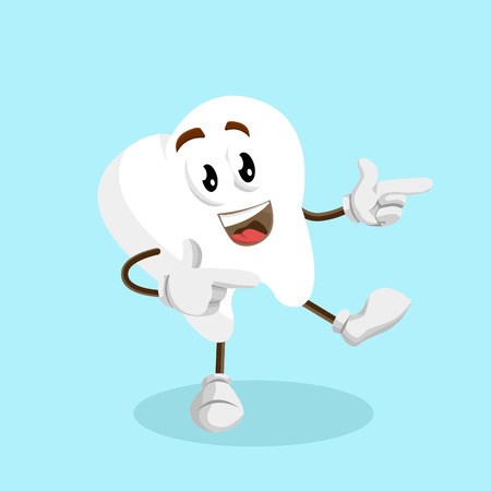 Tooth mascot and background Hi pose with flat design style for your mascot branding. Ilustração