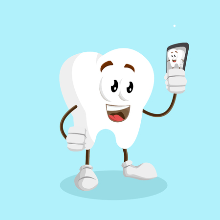Tooth mascot and background with selfie pose with flat design style for your mascot branding. Illusztráció
