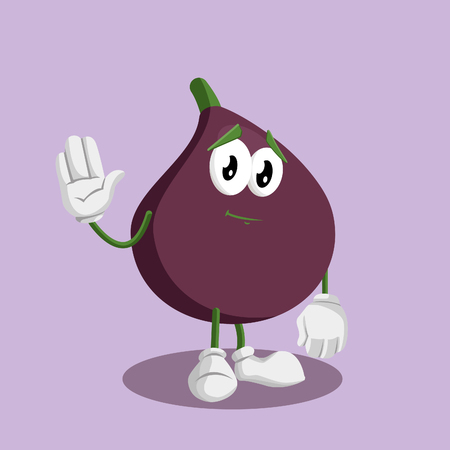 Fig mascot and background goodbye pose with flat design style for your mascot branding.