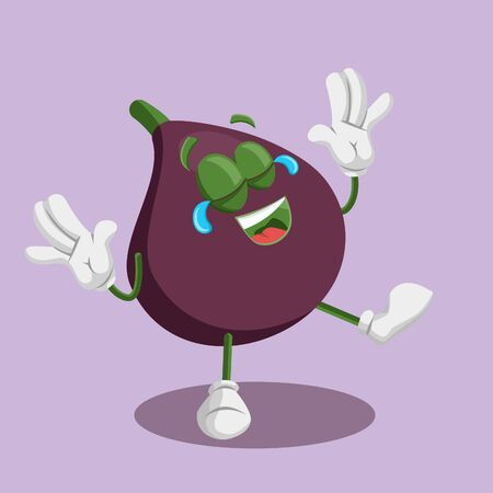 Fig mascot and background happy pose with flat design style for your mascot branding. Illustration