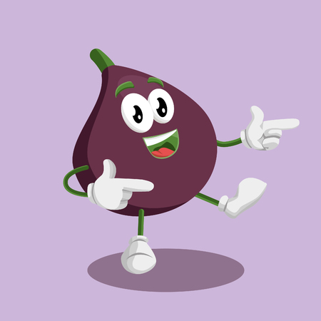 Fig mascot and background Hi pose with flat design style for your mascot branding.  イラスト・ベクター素材