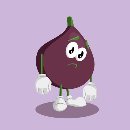 Fig mascot and background sad pose with flat design style for your mascot branding.
