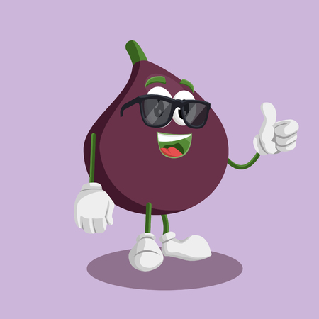 Fig mascot and background thumb pose with flat design style for your mascot branding. 일러스트