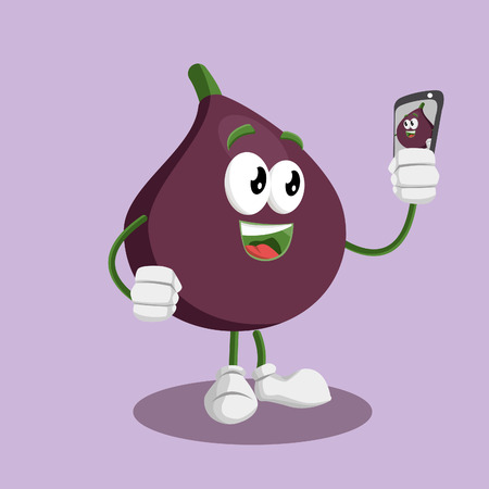 Fig mascot and background with selfie pose with flat design style for your mascot branding. Иллюстрация