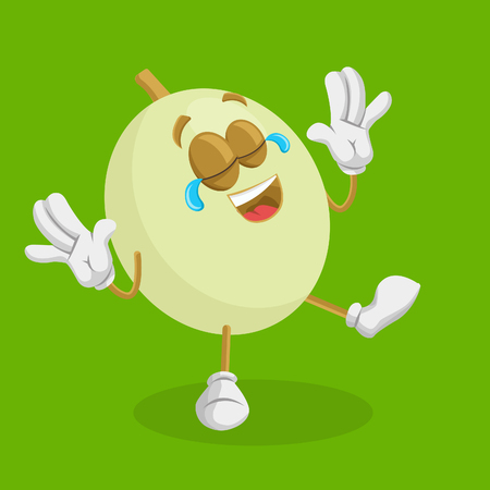 Honeydew mascot and background happy pose with flat design style for your mascot branding.