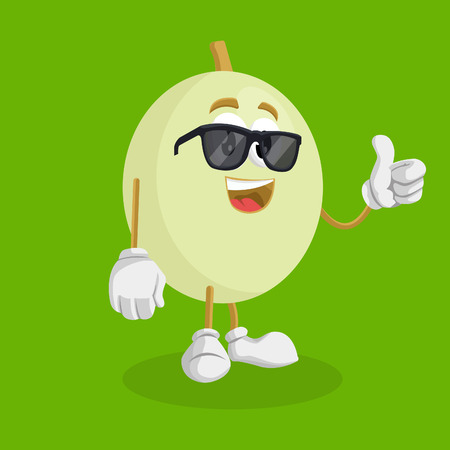 Honeydew mascot and background thumb pose with flat design style for your mascot branding.