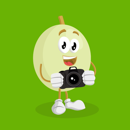 Honeydew mascot and background with camera pose with flat design style for your mascot branding.