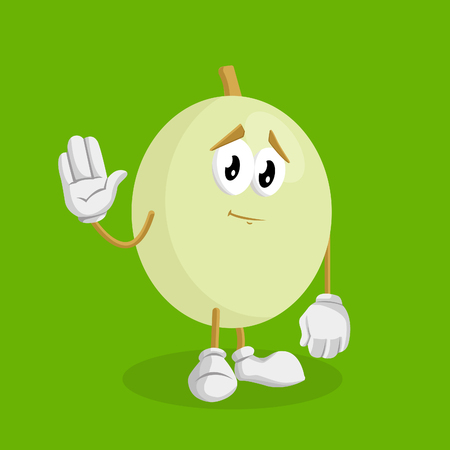Honeydew mascot and background goodbye pose with flat design style for your mascot branding.