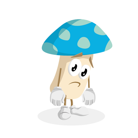 Mushroom mascot and background sad pose with flat design style for your mascot branding.