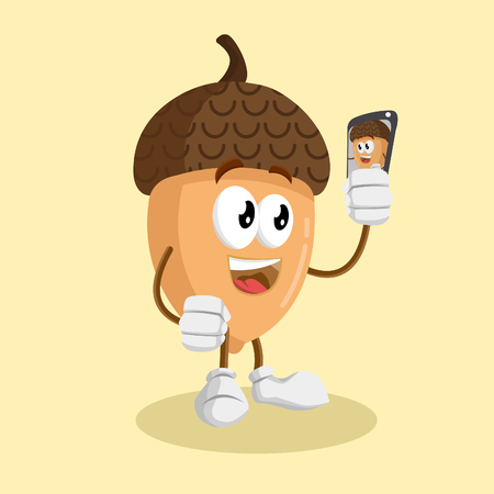 Nut mascot and background with selfie pose with flat design style for your mascot branding.