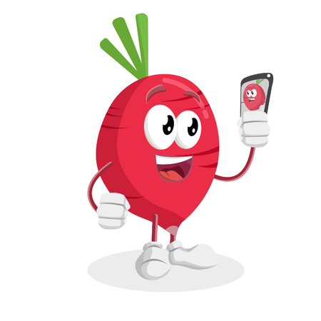 Radish mascot and background with selfie pose with flat design style for your mascot branding.