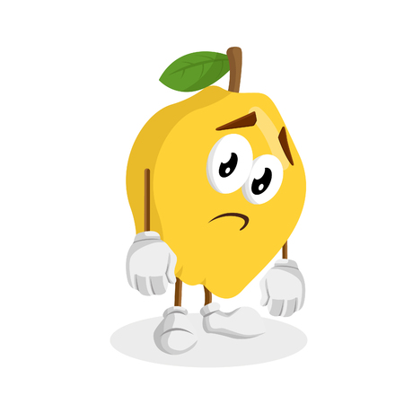 Quince mascot and background sad pose with flat design style for your mascot branding. Illustration