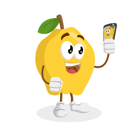 Quince mascot and background with selfie pose with flat design style for your mascot branding.