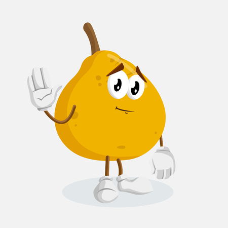 Ugli Fruit mascot and background goodbye pose with flat design style for your mascot branding.