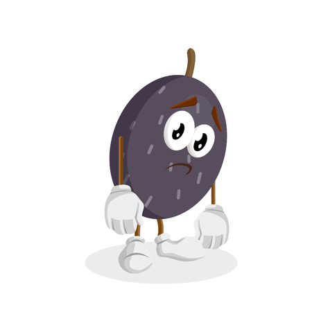 Velvet Tamarind mascot and background sad pose with flat design style for your mascot branding. Vectores