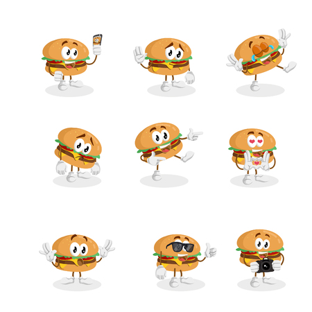 All set Burger mascot and background with flat design style for your mascot branding.