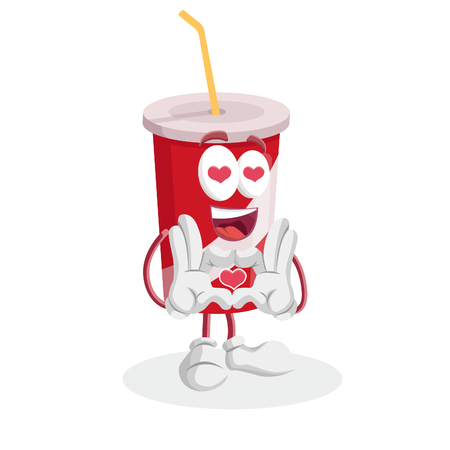 Soft Drink mascot and background in love pose with flat design style for your mascot branding. Иллюстрация