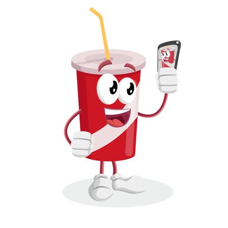 Soft Drink mascot and background with selfie pose with flat design style for your mascot branding. Illustration