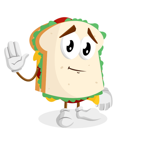 Sandwich mascot and background goodbye pose with flat design style for your mascot branding.
