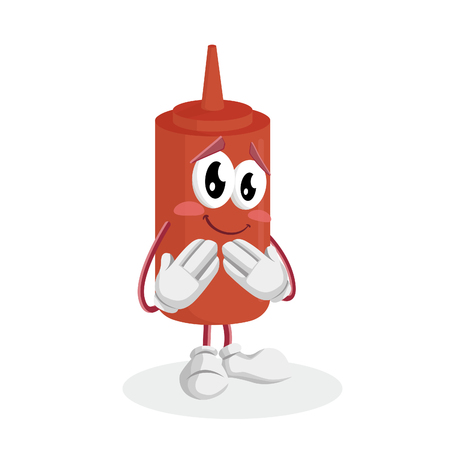 Ketchup mascot and background ashamed pose with flat design style for your mascot branding.