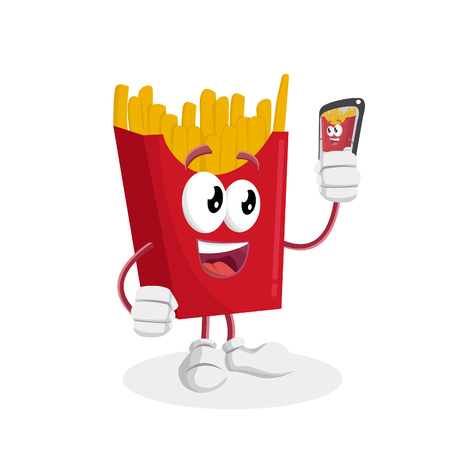 Fried fries mascot and background with selfie pose with flat design style for your mascot branding.