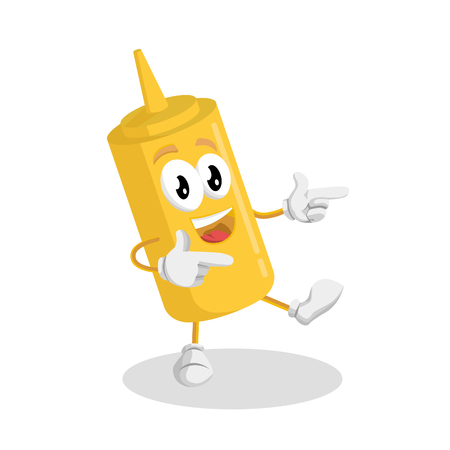 Mustard mascot and background Hi pose with flat design style for your mascot branding. Illustration