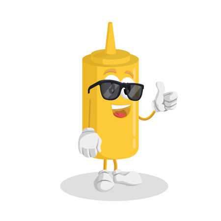 Mustard mascot and background thumb pose with flat design style for your mascot branding.