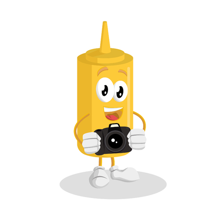 Mustard mascot and background with camera pose with flat design style for your mascot branding.