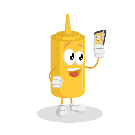 Mustard mascot and background with selfie pose with flat design style for your mascot branding.