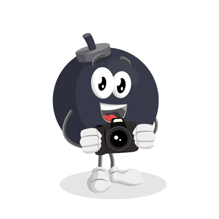 Bomb mascot with camera pose with flat design style for your mascot branding. Illustration