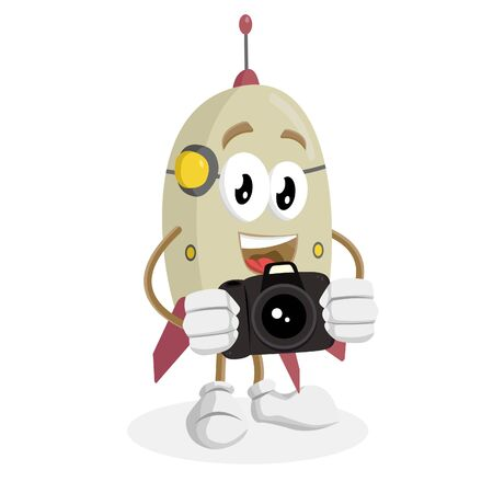 Rocket mascot and background with camera pose with flat design style for your mascot branding. Illustration