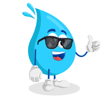 Water mascot and background thumb pose with flat design style for your mascot branding. Иллюстрация