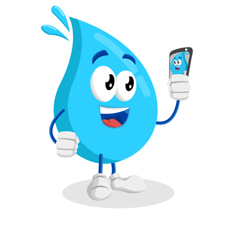 Water mascot and background with selfie pose with flat design style for your mascot branding.  イラスト・ベクター素材