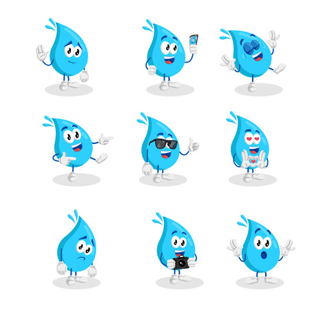 All set Water mascot and background with flat design style for your mascot branding. Vectores